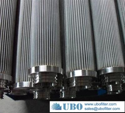 Stainless steel pleated hydraulic cylinder filter element